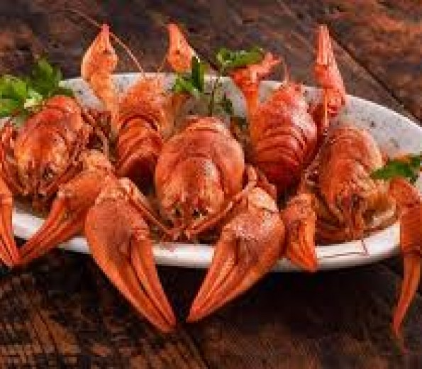 Salty sea and crayfish with garlic